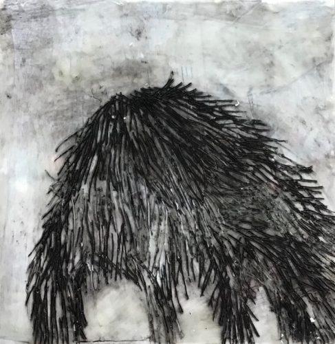 15 x 15 cm, Wachs, Ölkreise, Ritzungen auf MdF