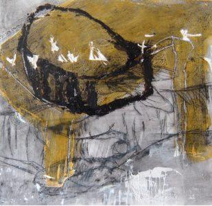 20 x 20 cm, Schelllack, Ölkreide, Wachs
