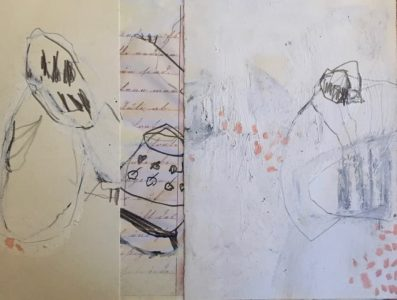 21 x 29 cm, Ölkreide, Grafit, altes Schulheft