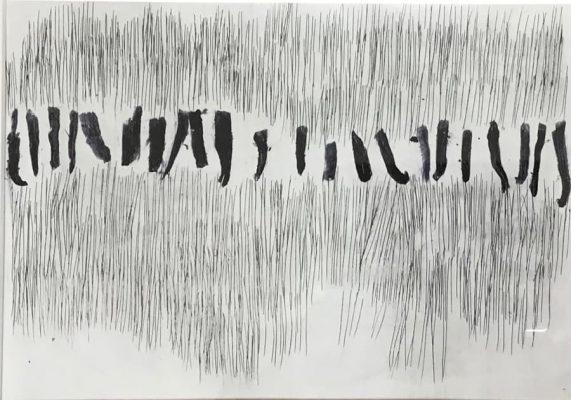 21X29cm, Ölkreide und Ritzungen in Glanzpapier