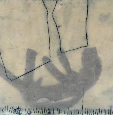 23x23 cm, Tusche, Ölkreiden, Wachs, Ritzungen