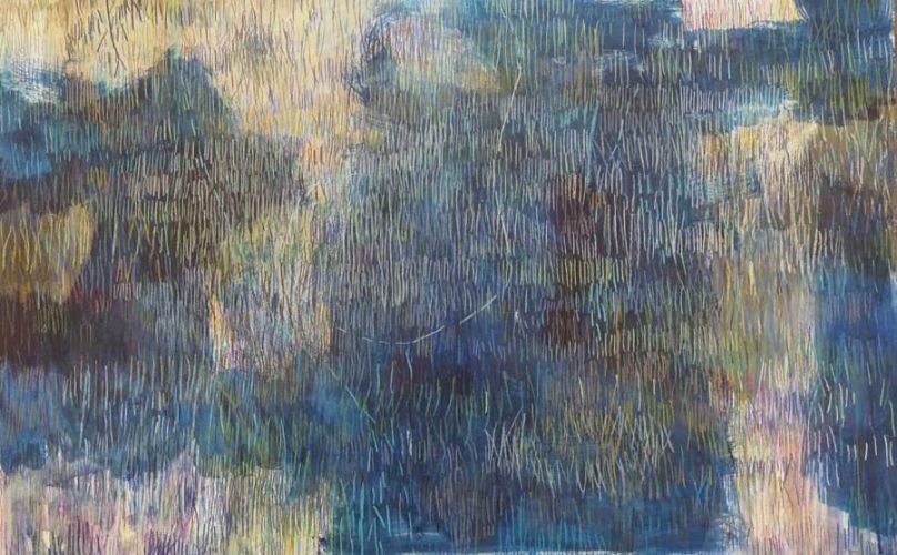 Striche auf Blautönen 45x70cm